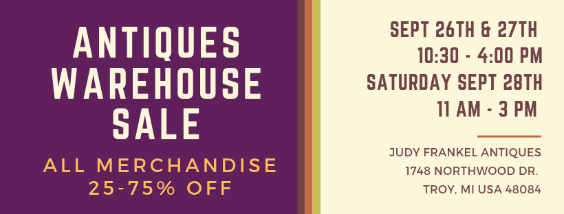 Judy Frankel Antiques warehouse sale - Sept 2019 graphic