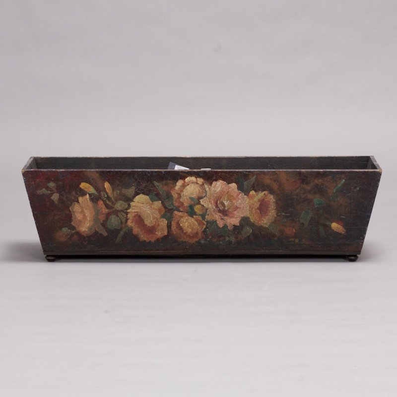 Photo of Dark Wood Planter with Ivory Roses