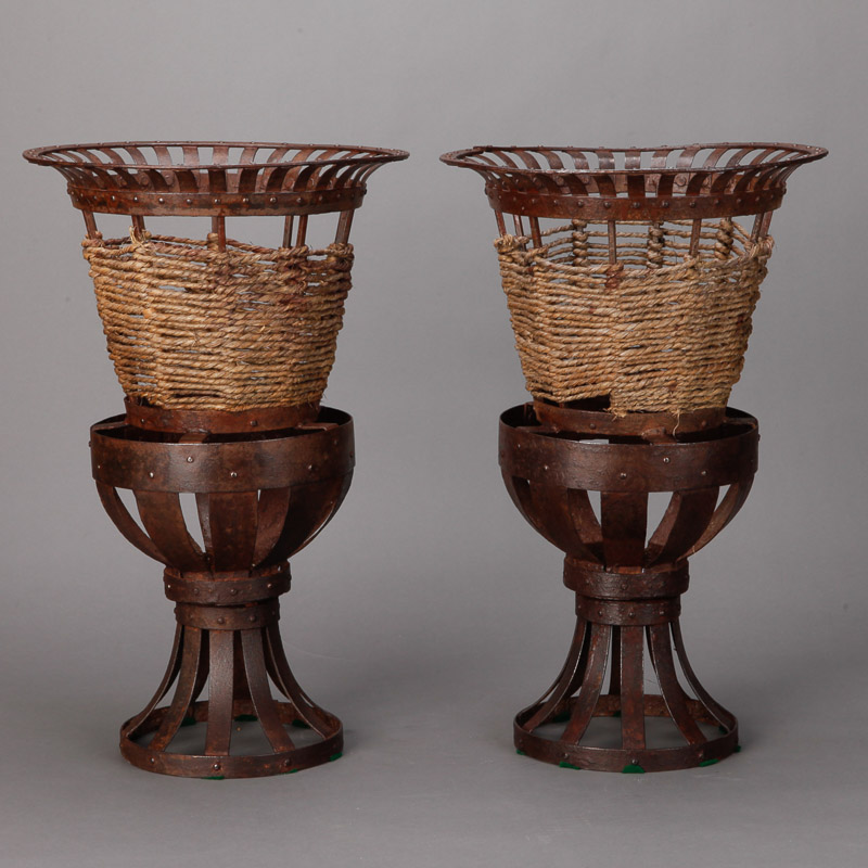 Photo of Pair Tall French Iron and Jute Jardinieres