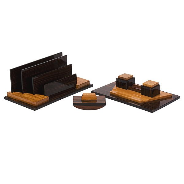 Art deco 3 piece wooden desk set dr165 for Deco accessoires