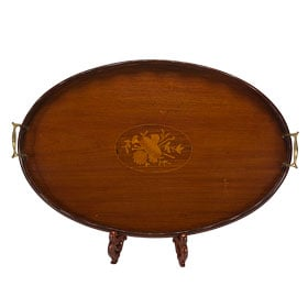 Antique item - Victorian Oval Wood Tray with Inlay