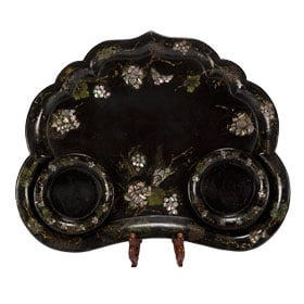 Antique item - Papier Mache Tray with Mother of Pearl