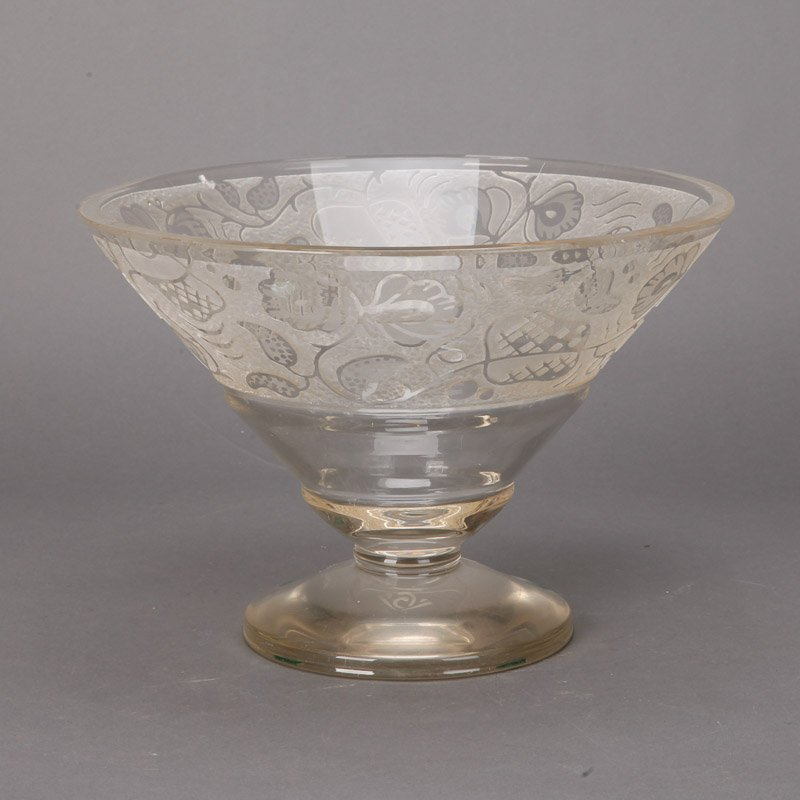 large deco etched glass pedestal bowl item 6091