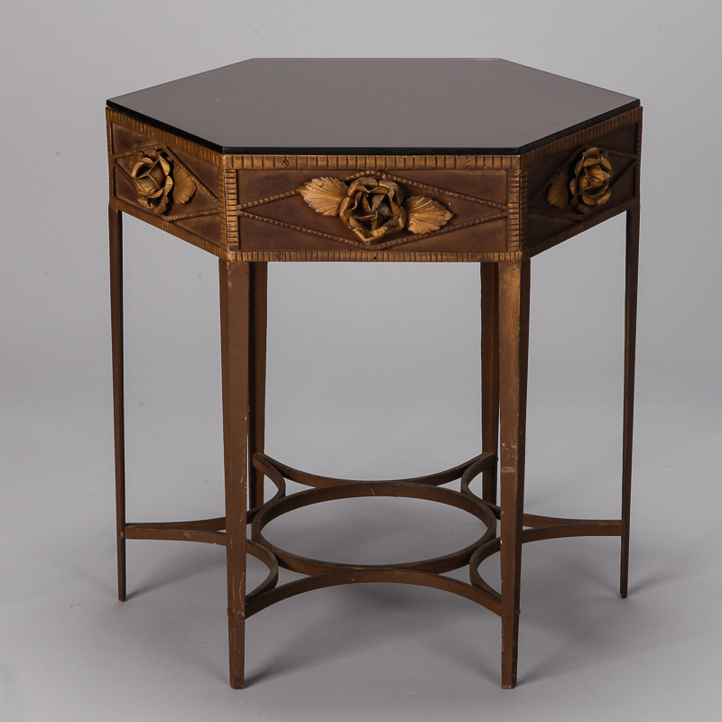 French art deco gilded iron side table with roses item 6391 - Deco table rose ...