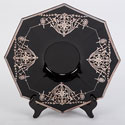 Art Deco Black Glass Platter with Silver Overlay