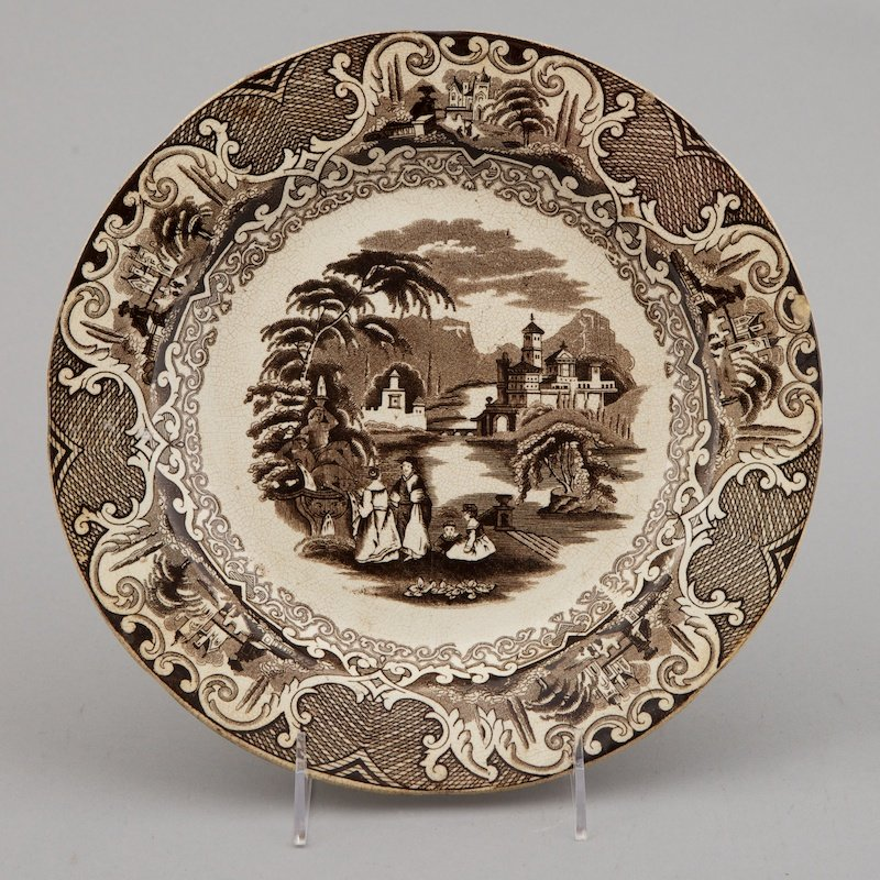 Photo of 19th Century Brown and White Transfer Ware Plate
