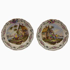 Antique item - Pair Large Ceramic French Platters