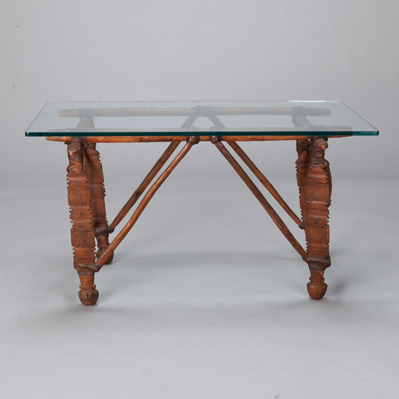 Photo of Cocktail Table with 19th Century African Wood and Leather Base