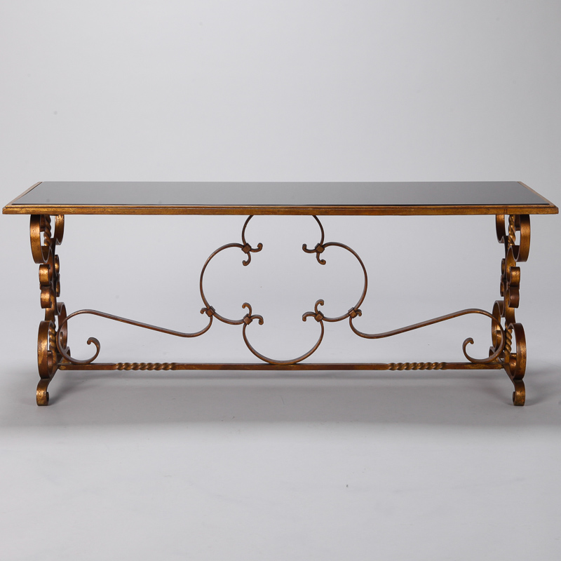Italian Gilt Iron And Black Glass Cocktail Or Coffee Table Item 6461