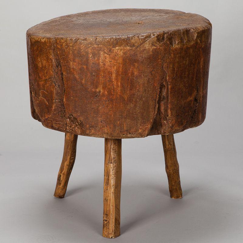 19th century primitive round butcher block table item 6865. Black Bedroom Furniture Sets. Home Design Ideas