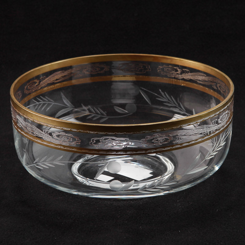 Photo of French Etched Crystal Serving Bowl With Gilt Detailing