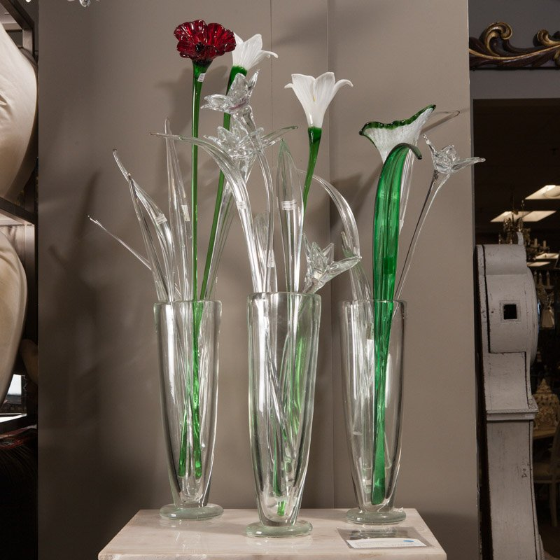 Mid Century Hand Blown Tall Murano Glass Flower Item5166