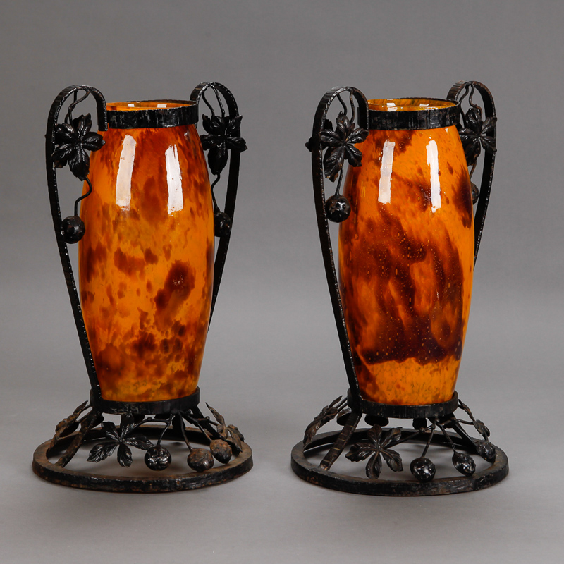 Photo of Pair Tall Signed Delatte Nancy Art Glass and Iron Vases