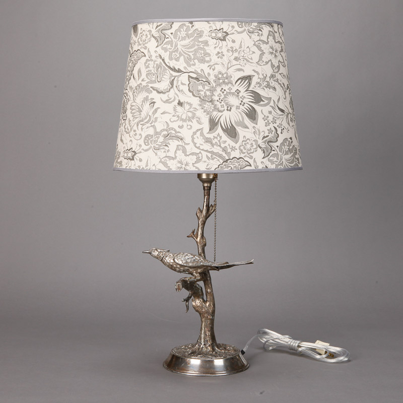 Photo of Silver Plate Table Lamp with Bird in Tree