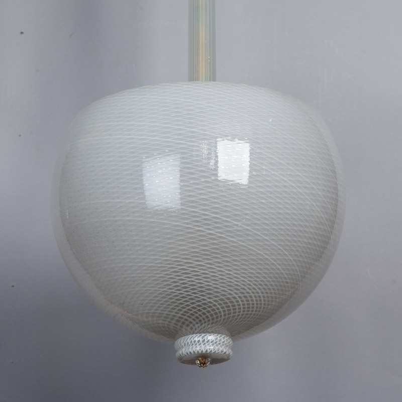 Mid Century White Murano Glass Hanging Light Fixture