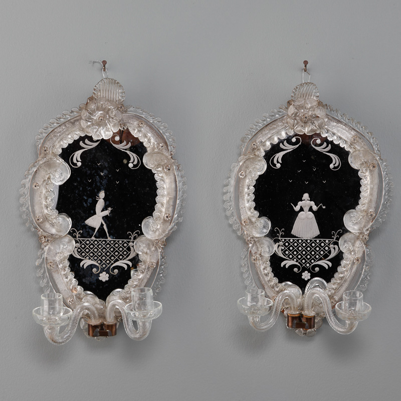 Venetian Mirror Back Candle Sconces With Etched Figures