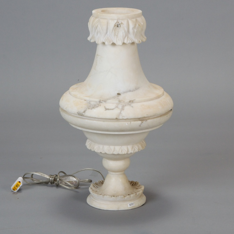 Photo of Carved Alabaster Urn Style Lamp
