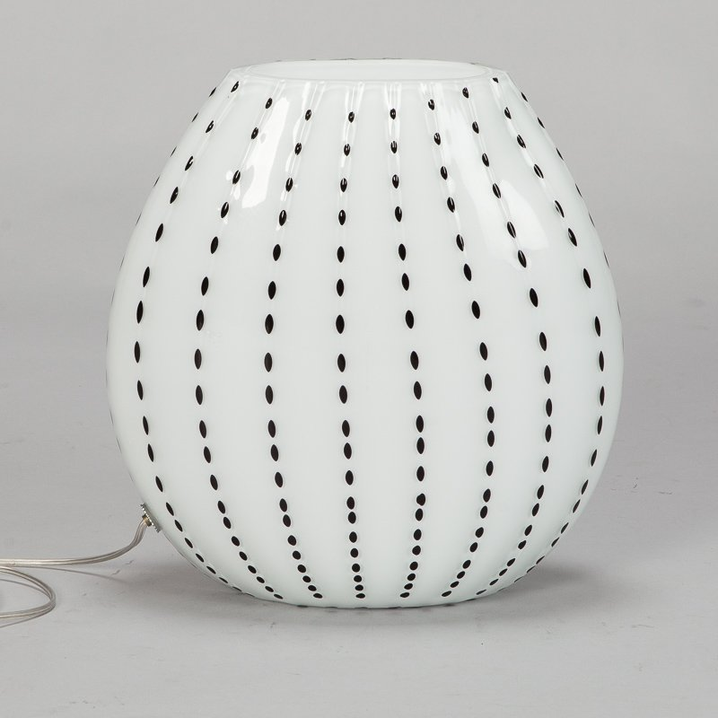 Photo of Large White and Black Cased Glass Murano Table Lamp
