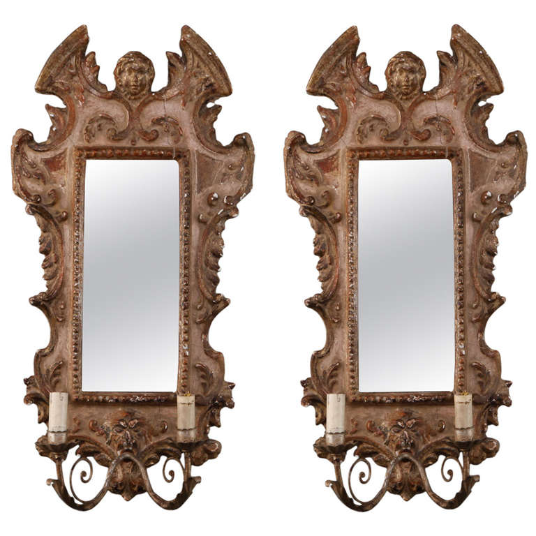 Photo of Pair 19th Century Painted and Gilded Italian Sconces