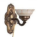 Pair of Bronze and Alabaster Sconces