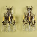 Pair Three Light Bronze Sconces