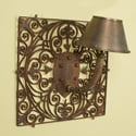 Pair French Metal Backed Wall Sconces