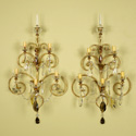 French Brass and Crystal Five Light Sconces
