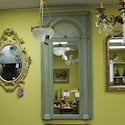 Large French Teal Painted Mirror
