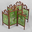 Pair Small Painted Glass Screens