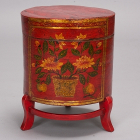 Photo of antique Chinese Painted Hat Box