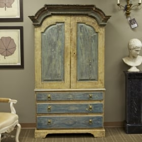 Photo of antique Tall Swedish Blue Two Piece Cupboard