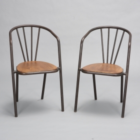 Photo of antique Set of 6 Midcentury French Metal and Wood Armchairs