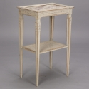 French Two Tier Marble and Caned SIde Table