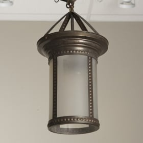 Photo of antique Hanging Bronze and Frosted Glass Lantern