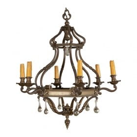 Photo of antique Dutch Bronze and Glass Six Arm Chandelier