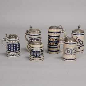 Photo of antique German Ceramic and Pewter Beer Tankards