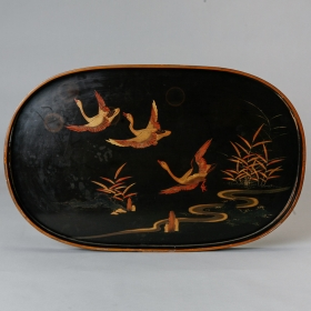 Photo of antique Japanese Style Oval Lacquer Tray