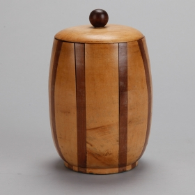 Photo of antique English Satinwood and Walnut Lidded Canister
