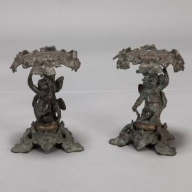 Photo of antique Pair 19th Century Bronze Tazzas with Putti and Ivy