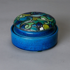 Photo of antique Mid Century Bitossi Blue Ceramic Covered Box