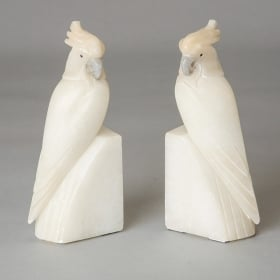 Photo of antique Pair Art Deco Italian Alabaster Cockatoo Bookends
