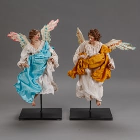 Photo of antique Pair of Italian Creche Angels On Stands