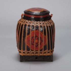 Photo of antique Large Red and Black Lacquered Thai Basket