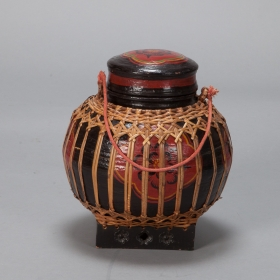 Photo of antique Small Thai Red and Black Lacquered Covered Basket With Reeding