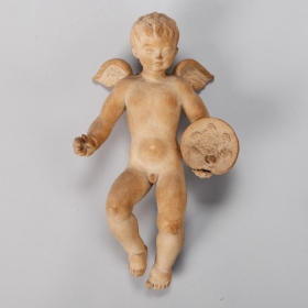 Photo of antique Large Signed Terra Cotta Cherub Puti