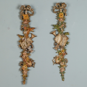 Photo of antique Pair Tall Painted and Gilded Wall Carvings Depicting Spring and The Arts