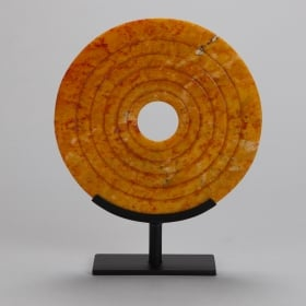 Photo of antique Orange Gold Jade Disk on Stand