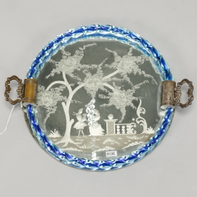 Photo of antique Venetian Etched Mirrored Dresser Tray with Blue Rim