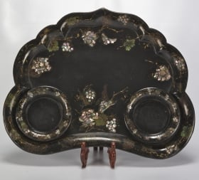 Photo of antique 19th Century Papier Mache Tray with Mother of Pearl