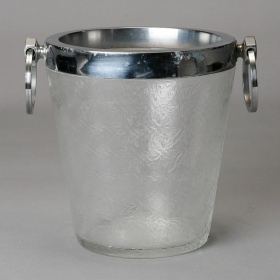 Photo of antique Art Deco Heavy Crystal Ice Bucket with Overall Design